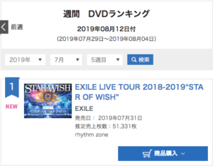 "EXILE""EXILE LIVE TOUR 2018-2019 ""STAR OF WISH"""" オリコン週間"